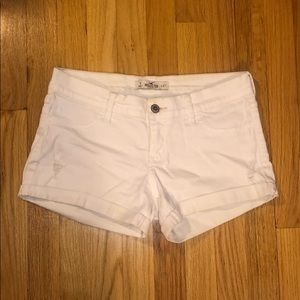 Hollister Low-rise White Ripped Shorts